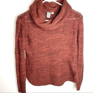 Quinn maroon open knit turtle neck sweater Small